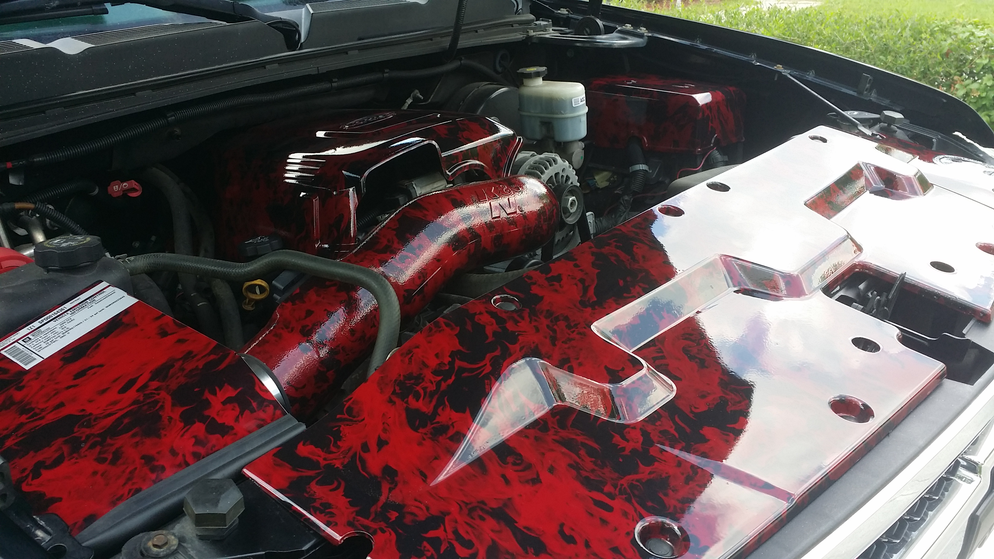 Hydro dipped engine bay